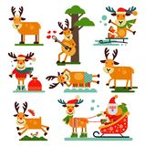 Christmas cute reindeer Santa Claus character vector New Year illustration of deer animal for sleigh Stock Photography