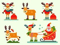 Christmas cute reindeer Santa Claus character vector New Year illustration of deer animal for sleigh Royalty Free Stock Photo