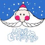 Christmas Cute Santa with long moustaches in a santa hat. Vector. Illustration. Invitation, card vector illustration