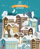 Christmas cute snow night town with city roads, cars and cute houses. Happy New Year vector template in modern flat design. royalty free illustration