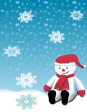 Christmas Cute Snowman Playing Royalty Free Stock Photography