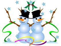 Christmas cute snowmen. vector Stock Photos