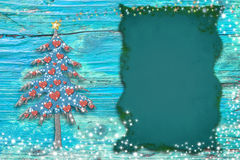 Christmas cute tree cards. Copy space. Royalty Free Stock Photography
