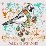 Christmas Cute Vector Greeting Card With Bird Royalty Free Stock Photography
