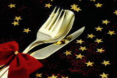Christmas cutlery Royalty Free Stock Image