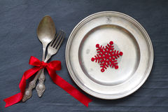 Christmas cutlery on the table abstract food background Royalty Free Stock Photography