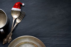 Christmas cutlery on the table abstract food background. Concept Stock Images