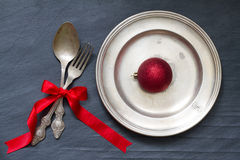 Christmas cutlery on the table abstract food background Stock Photos