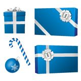 Christmas cyan objects. Group of cyan gifts, ball and candy cane vector draw on white background. Happy holydays vector illustration