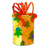 Christmas cylinder gift box. Royalty Free Stock Images