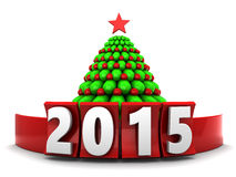 2015 Christmas. 3d illustration of sign 2015 and xmas tree, over white background Royalty Free Stock Photography