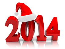 2014 Christmas. 3d illustration of text 2014 with christmas hat, over white background Royalty Free Stock Photos
