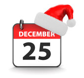 Christmas. 3d illustration of 25th december calendar and christmas hat Stock Images