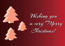 Christmas 3d tree set background, minimalistic simple  Merry Christmas card wishing you a very Merry Christmas. Stock Photo