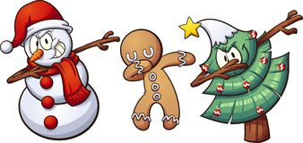 Christmas dabbing. Characters. Vector clip art illustration with simple gradients. Each on a separate layer Royalty Free Stock Image