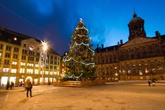 Christmas on the Dam square in Amsterdam the Netherlands. At night Stock Images