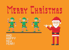 Christmas Dancing Elves. Christmas Pixel Art Style Illustration With Dancing Elves And Santa Claus Royalty Free Stock Image
