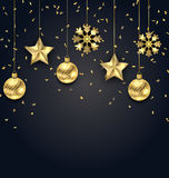Christmas Dark Background with Golden Balls, Stars and Snowflakes Royalty Free Stock Photos
