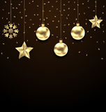 Christmas Dark Background with Golden Balls, Stars and Snowflakes Stock Photography