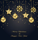 Christmas Dark Background with Golden Baubles, Greeting Banner Royalty Free Stock Photography