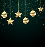 Christmas Dark Background with Golden Baubles, Greeting Banner Royalty Free Stock Photo
