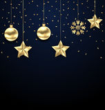 Christmas Dark Background with Golden Baubles, Greeting Banner Royalty Free Stock Image