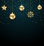 Christmas Dark Background with Golden Baubles, Greeting Banner Stock Photography