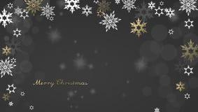 Christmas dark background with golden - white snowflakes Stock Photos