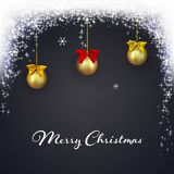 Christmas dark background with magic lights. Holiday glowing glitter background with falling snow. Christmas balls with bows. royalty free illustration