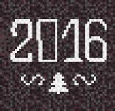 Christmas dark background with mosaic 2016 tree. Stock Photo