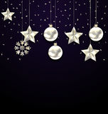 Christmas Dark Background with Silver Balls, Stars and Snowflakes. Royalty Free Stock Images