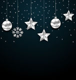 Christmas Dark Background with Silver Baubles, Greeting Luxury Banner Stock Images