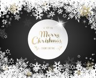 Christmas dark background with white and golden snowflakes. Stock Images