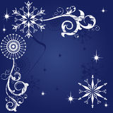 Christmas dark blue background. Dark blue grunge background with snowflakes and frosty patterns Royalty Free Illustration