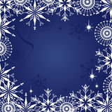 Christmas dark blue background. Dark blue grunge background with snowflakes and frosty patterns Vector Illustration