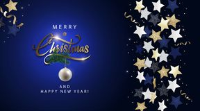 Merry Christmas dark blue banner. Christmas dark blue banner, invitation, card or flyer. Holiday design with metallic lettering, blue, gold and white stars stock illustration