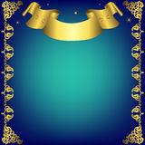 Christmas Dark Blue Frame With Golden Ribbon Stock Image