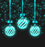 Christmas Dark Shimmering Background. Illustration Christmas Dark Shimmering Background with Turquoise Glassy Balls - Vector Royalty Free Stock Images