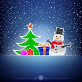 Christmas dark snow blue card. Christmas cartoon card with snowman, fir-tree, bauble and present on the blue snow background Stock Photo