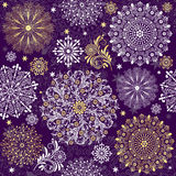 Christmas dark violet seamless pattern. With white and gold vintage snowflakes (vector Royalty Free Stock Photos