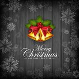 Christmas dark wooden background with snowflakes, holly and gold bells. Illustration of Christmas dark wooden background with snowflakes, holly and gold bells Stock Images