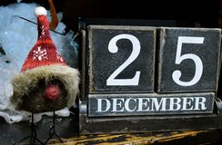 Christmas Date. December 25, the date for Christmas when children are hopeful Stock Images