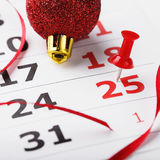 Christmas date is highlighted in the calendar Stock Images