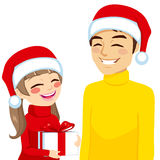 Christmas Daughter Dad With Gift vector illustration