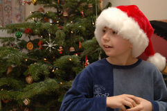 Christmas Day. A boy on christmas day royalty free stock image