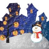 Christmas day. Snowman of frame on christmas day Stock Image