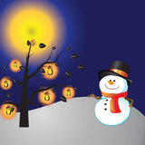 Christmas day. Snowman of frame on christmas day Royalty Free Stock Image