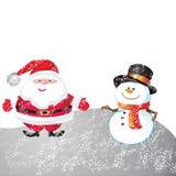 Christmas day. Snowman and santa of frame on christmas day Stock Image