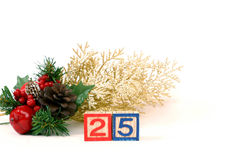 Christmas day. Christmas decor with the number blocks 25 Royalty Free Stock Images