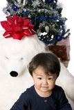 Christmas day 7. Child sitting with huge teddybear,christmas tree in the background Stock Images